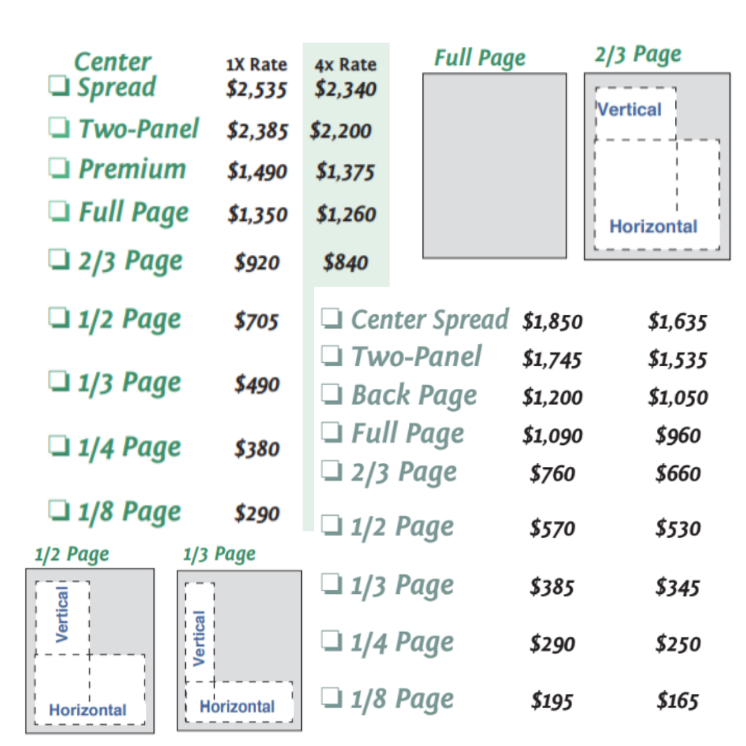 Traditional Magazine Ad Rate Sheet
